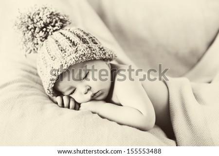 Baby boy, sleeping - stock photo