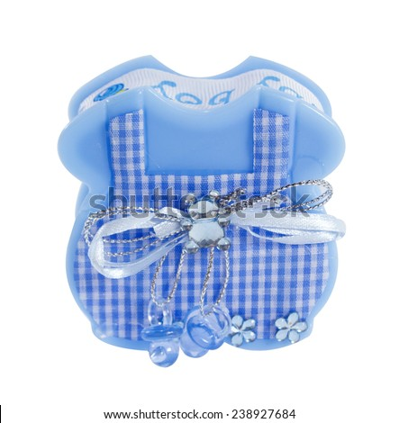 baby boy souvenir, blue Apron box for candy.