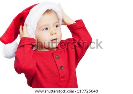 baby boy wearing santa hat on white isolated background - stock photo