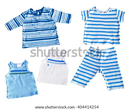 baby boy white and blueT-shirts and pants isolated on white background
