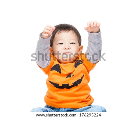 Baby boy with halloween party look - stock photo