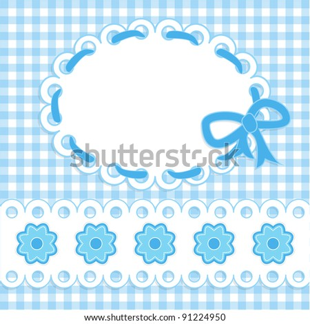 Baby card with blue stripes and flowers. Raster illustration. - stock photo