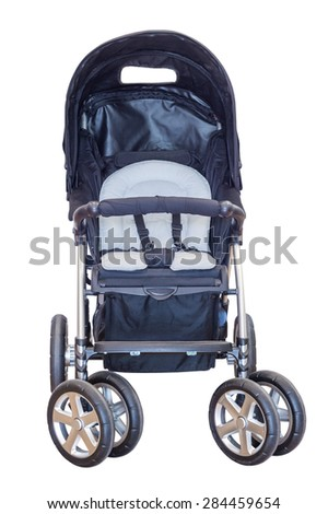 baby carriage isolated on a white background - stock photo