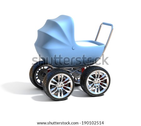 baby carriage with sport car wheels - stock photo