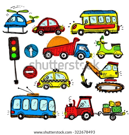 baby cars set. funny baby toys. vector doodle collection of hand drawn icons transport for baby