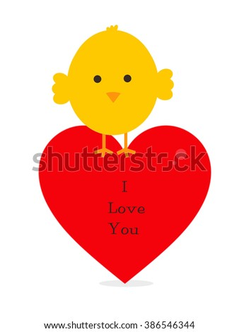 Baby Chick - I Love You - stock photo