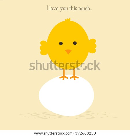 Baby Chick - I love you this much.. - stock photo