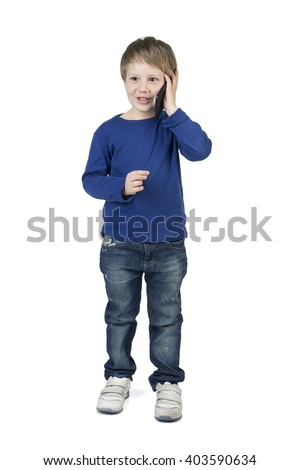 Baby, child boy call, talking, plays on tablet, cell, mobile phone isolated on white background, branding, mock up - stock photo