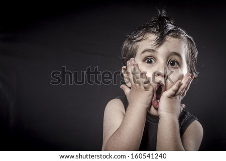 Baby, child rocker dress and funny expressions crested - stock photo