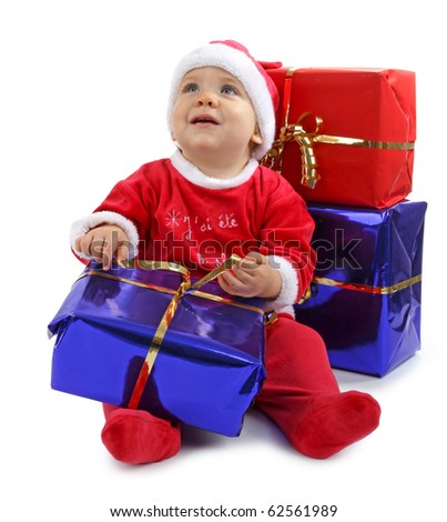 baby christmas with gift - stock photo