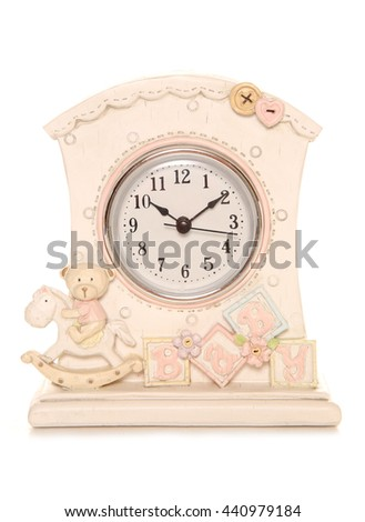 Baby clock for nursery studio cutout - stock photo