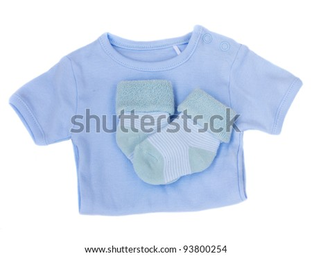 baby clothes isolated on white - stock photo