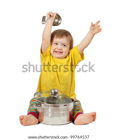 Baby cook with  pan. Isolated over white background with shade