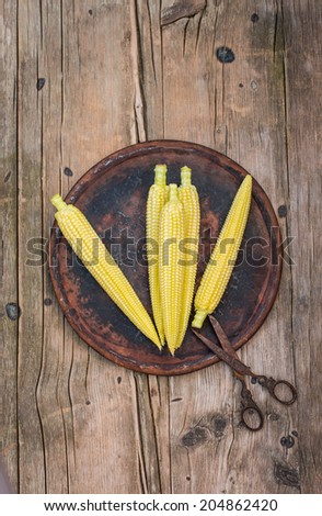 Baby corn on a dark rustic plate, country stile - stock photo