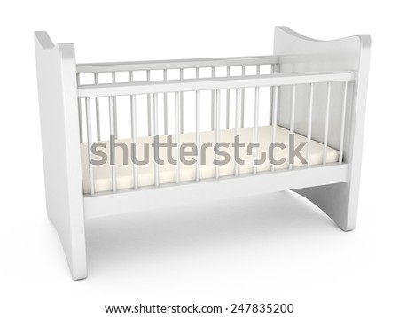 Baby cot over white background. computer generated