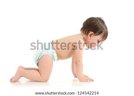 Baby crawling and watching down in a white isolated background