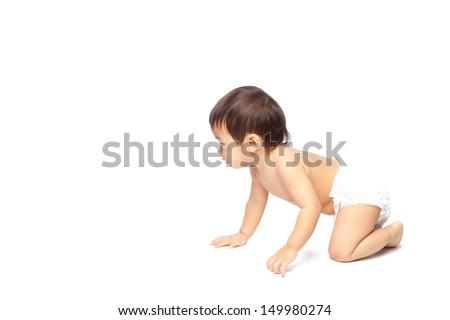 Baby crawling on white background isolate - stock photo