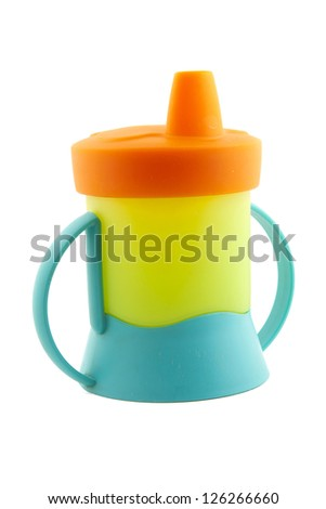 Baby cup- bottle on a white background - stock photo