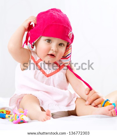 Baby. Cute Baby Girl Portrait. Funny Child isolated on a White Background