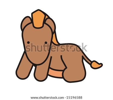 Baby cute horse, baby animal friend - stock photo