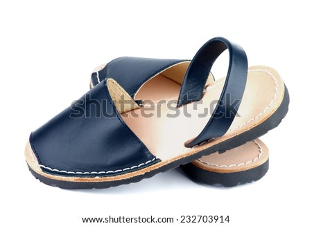 Baby Dark Blue Leather Sandals isolated on white background. Back View - stock photo