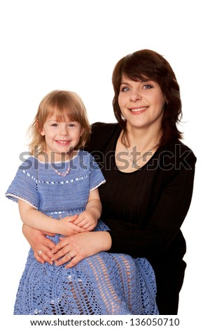 Baby daughter and mother. Isolated on white background. - stock photo