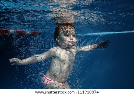 baby diving - stock photo