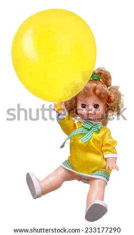 baby doll flying on balloon isolate on white background - stock photo