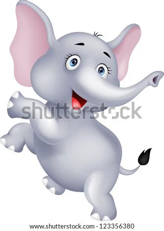 baby elephant dancing - stock photo