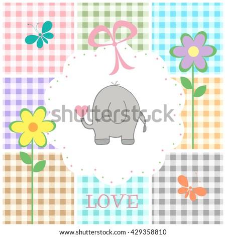 Baby Elephant - Pink - stock photo