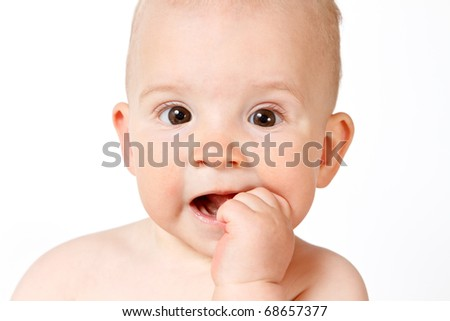 baby face, close-up - stock photo