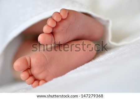 Baby feet in a white towel - stock photo