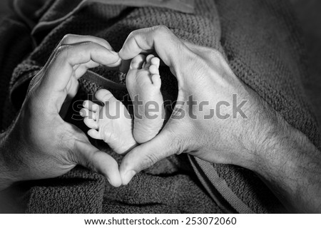 Baby feet in father hands, heart - stock photo