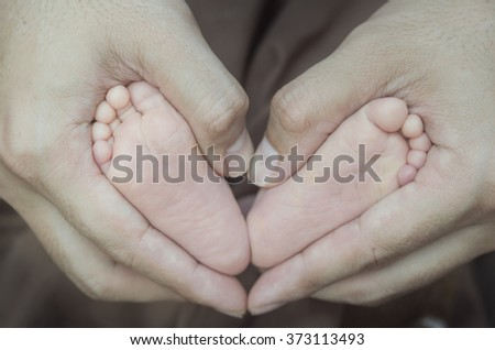 Baby feet in the hand