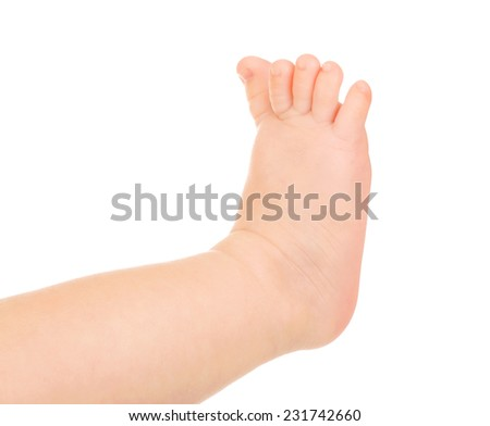 Baby feet isolated on white - stock photo