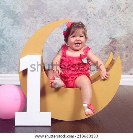 Baby first birthday, number one, moon prop - stock photo