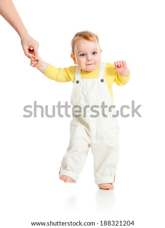 baby first step isolated studio shot - stock photo