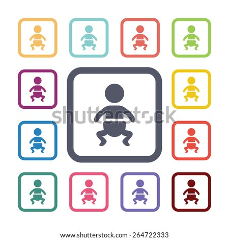 baby flat icons set. Open round colorful buttons.