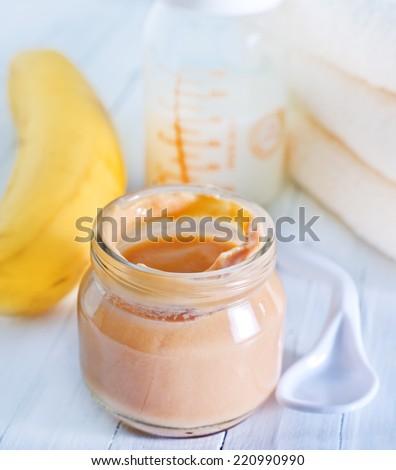 baby food from banana - stock photo