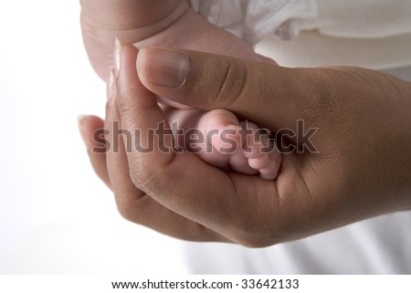Baby foot in mothers hand