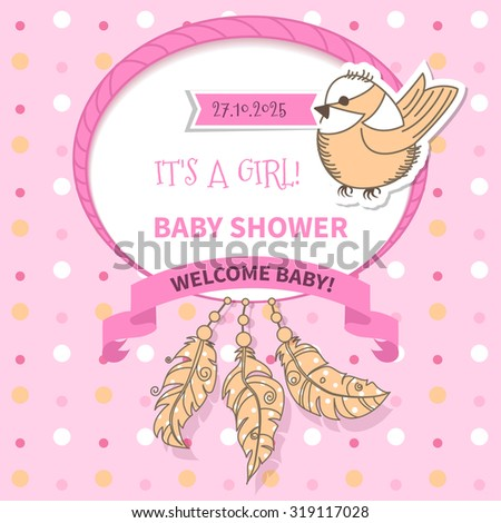 Baby frame with  bird and ribbon and feathers on background polka dots - stock photo
