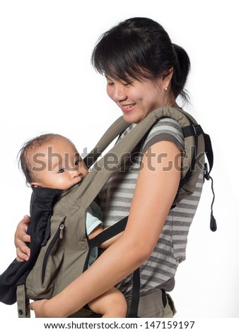 Baby front carrier with mother