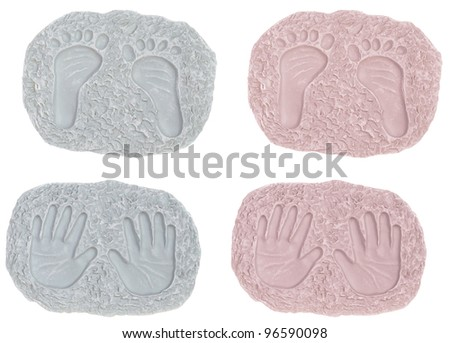 Baby Girl and Boy Foot Prints and Hand Prints - stock photo