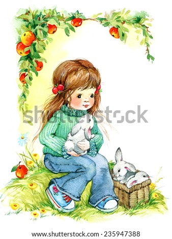 baby girl and bunny. background for congratulations. A series of child and nature. watercolor.