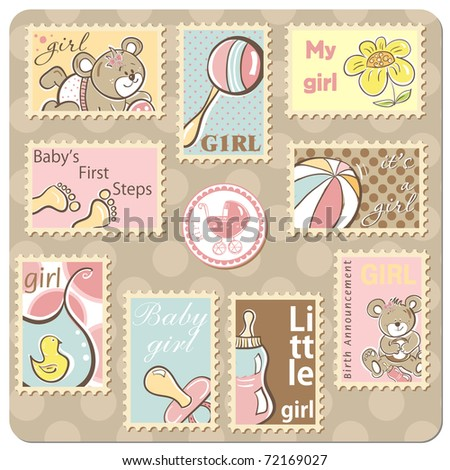 Baby girl announcement card - collection of postal stamps - vector version also available - stock photo