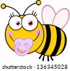 Baby Girl Bee Cartoon Mascot Character. Raster Illustration.Vector Version Also Available In Portfolio. - stock vector