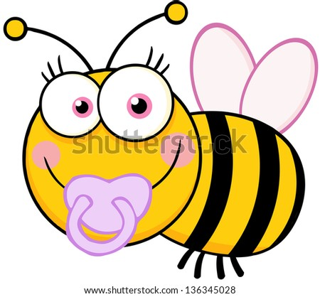 Baby Girl Bee Cartoon Mascot Character. Raster Illustration.Vector Version Also Available In Portfolio. - stock photo