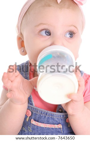 baby girl bottle - stock photo