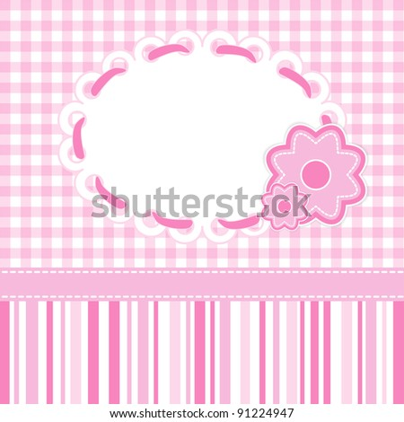 Baby girl card with stripes and flowers. Raster illustration. - stock photo
