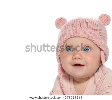 baby girl child  smiling happy pink fashion portrait face studio shot isolated on white caucasian